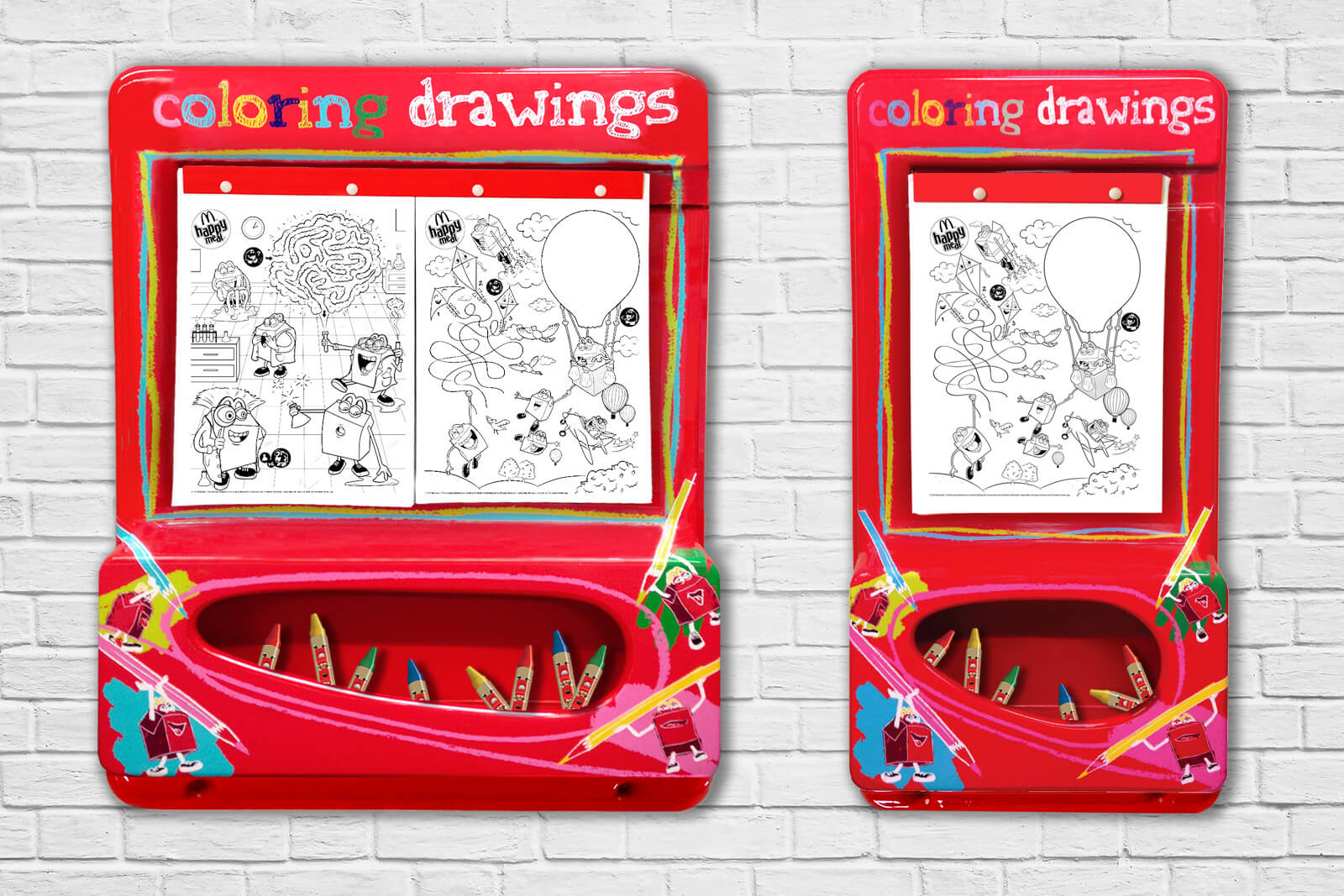 Mcdonalds Europe colouring boards